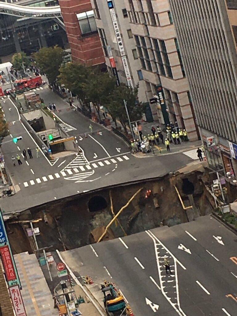 博多駅前陥没の原因は七隈線延伸工事か?場所と現場画像も!